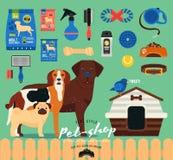 Ensemble de magasin de bêtes Icônes de toilettage réglées plat Image libre de droits