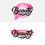 Ensemble de main écrit marquant avec des lettres le logo, le label, l'insigne ou l'emblème de salon de beauté Image libre de droits