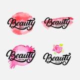 Ensemble de main écrit marquant avec des lettres le logo, le label, l'insigne ou l'emblème de salon de beauté Image stock