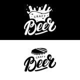 Ensemble de main de bière écrit marquant avec des lettres des logos, labels, insignes pour la brasserie, société de brassage, bar Image libre de droits