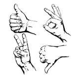 Ensemble de mains de symbole. Illustration de vecteur Images stock