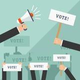 Ensemble de mains tenant différents signes Concept de vote Illustration de vecteur Photo stock