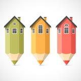 Ensemble de maisons colorées de crayon Photographie stock libre de droits
