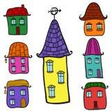 Ensemble de maisons de griffonnage Illustration Stock