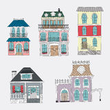Ensemble de maisons de vintage de dessin de main Photo libre de droits