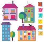 Ensemble de maisons lumineuses mignonnes Image stock