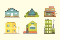 Ensemble de maisons résidentielles de différents styles Bâtiments d'architecture de ville rétros et modernes Vecteur avant de ban Photo stock
