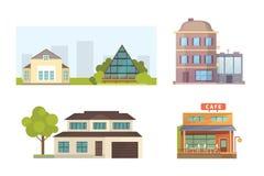 Ensemble de maisons résidentielles de différents styles Bâtiments d'architecture de ville rétros et modernes Vecteur avant de ban Photographie stock libre de droits