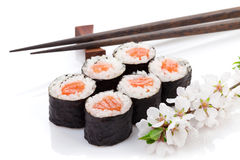 Ensemble de maki de sushi et branche de Sakura Images stock