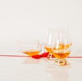 Ensemble de malt simple goûtant les verres, whiskey de malt simple dans glas Images stock