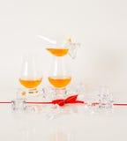 Ensemble de malt simple goûtant les verres, whiskey de malt simple dans glas Photographie stock