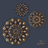 Ensemble de mandala oriental de fleur de couleur de neuf bleus sur le backgroun foncé Image libre de droits