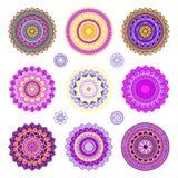 Ensemble de mandalas colorés Image libre de droits
