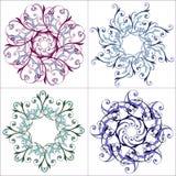 Ensemble de mandalas colorés Configuration florale ronde ornementale Mandala splendide de vecteur dans le bleu illustration stock
