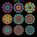 Ensemble de 9 mandalas de palette d'arc-en-ciel Photo stock