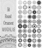 Ensemble de 50 mandalas ronds d'ornement Photo stock