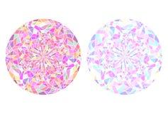 Ensemble de mandalas ronds de verre souillé Glace cassée Kaléidoscope Images libres de droits