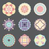 Ensemble de mandalas simples colorés par pastel de vecteur Photographie stock libre de droits