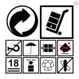 Ensemble de manipulation et de emballage d'icône Image stock