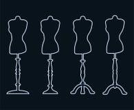 Ensemble de 4 mannequins linéaires sur les jambes découpées Photo libre de droits