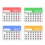 Ensemble de maquette de calendrier avec l'avance Image libre de droits