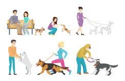 Ensemble de marche de chien illustration de vecteur