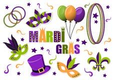 Ensemble de Mardi Gras de carnaval d'icônes de vecteur masques Chapeau ballons beads Fleur de lis Mardi Gras Carnaval Gros mardi illustration libre de droits