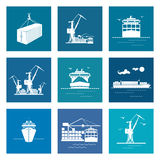 Ensemble de Marine Cargo Icons Photographie stock libre de droits