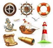 Ensemble de marine Icônes de vecteur de vacances d'été illustration de vecteur