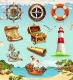 Ensemble de marine, icônes de vecteur de vacances d'été Images stock