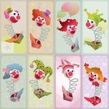 Ensemble de 8 marionnettes colorées de Jack in the Box Images stock