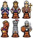 Ensemble de mascotte de pièces d'échecs illustration libre de droits