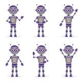 Ensemble de mascotte de robot de bande dessinée d'objets dans le style plat Collection de caractère de robots D'isolement sur le  image stock