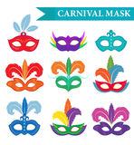 Ensemble de masque de mascarade, style plat Collection de carnaval d'isolement sur le fond blanc Réception Illustration de vecteu Image libre de droits