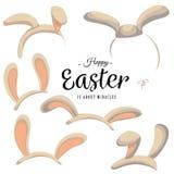 Ensemble de masque de Pâques avec des oreilles de lapin d'isolement sur le blanc avec le texte de salutation, illustration rose d illustration libre de droits