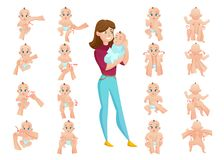Ensemble de massage de bébé illustration de vecteur