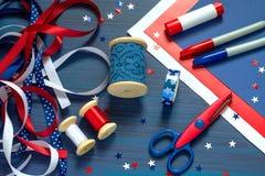 Ensemble de matériaux pour faire des souvenirs et des cadeaux pour l'indépendance Photo stock