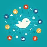 Ensemble de media plat moderne de social de conception Image libre de droits