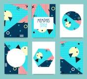 Ensemble de Memphis Style Cards avec les éléments géométriques s, Magazin Image libre de droits