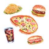 Ensemble de menu de déjeuner d'aliments de préparation rapide d'aquarelle Image stock