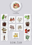 Ensemble de menu de salade de papaye Photos stock