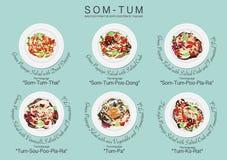 Ensemble de menu de salade de papaye Illustration Libre de Droits