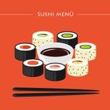Ensemble de menu de sushi de différents types avec les baguettes et la sauce de soja illustration stock