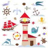Ensemble de mer, oiseaux et poissons, phare rouge et voiles illustration libre de droits