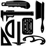 Ensemble de mesure dessinant et concevant des outils illustration stock