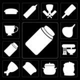 Ensemble de miel, farine, pot, pain, jambon, mélangeur, confiture, oignon, thé, ed illustration stock