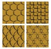 Ensemble de milieux avec les modèles grunges, courbes noires sur le fond d'or, différentes formes, hexagone, place, ovale, étoile illustration de vecteur