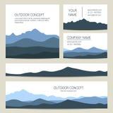 Ensemble de milieux bleus de montagnes Conception de calibres de vecteur Photo stock