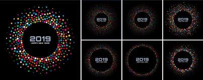 Ensemble de milieux de carte de la nouvelle année 2019 Vue colorée lumineuse de cercle de confettis de lumières de disco d'isolem illustration de vecteur