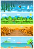 Ensemble de milieux et de paysages de nature avec différentes saisons illustration libre de droits